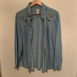 Chico's Floral Embroidered Denim Shirt